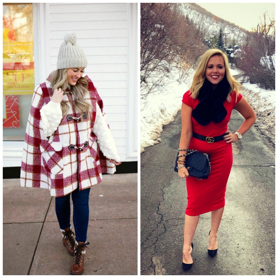 Warm and cute Valentines Day outfit featured by top US fashion blog, Walking in Memphis in High Heels: image of a woman wearing SheIn plaid duffle coat, Joe's Jeans skinny jeans, Red Dress knit sweater, Eastland Combat Boots and a Faux fur pom beanie hat