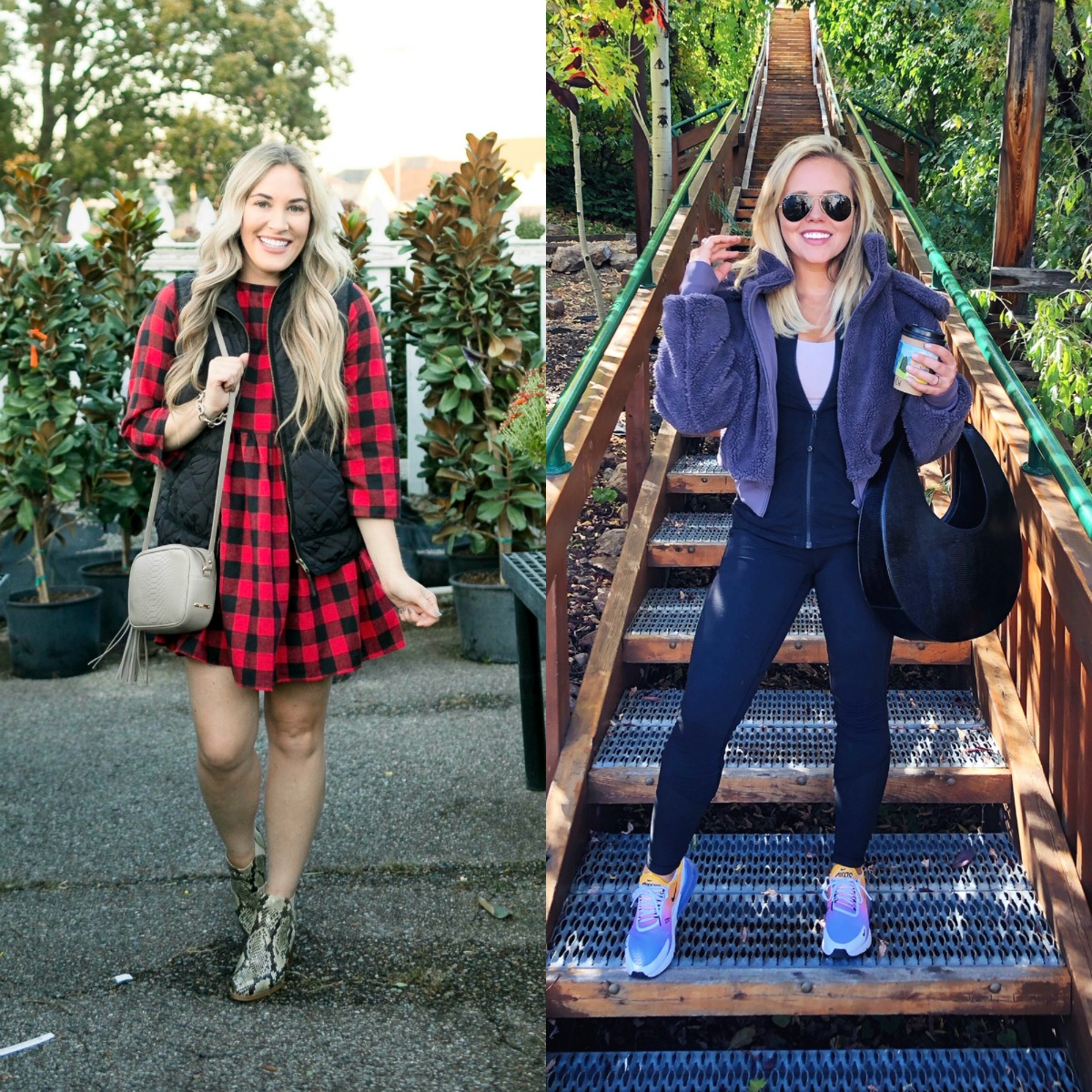 How to layer clothes in the fall, tips featured by top US fashion blog, Walking in Memphis in High Heels: image of a woman wearing a SheIn plaid smock dress, MarleyLilly monogrammed puffer vest, and Vince Camuto snakeskin booties.