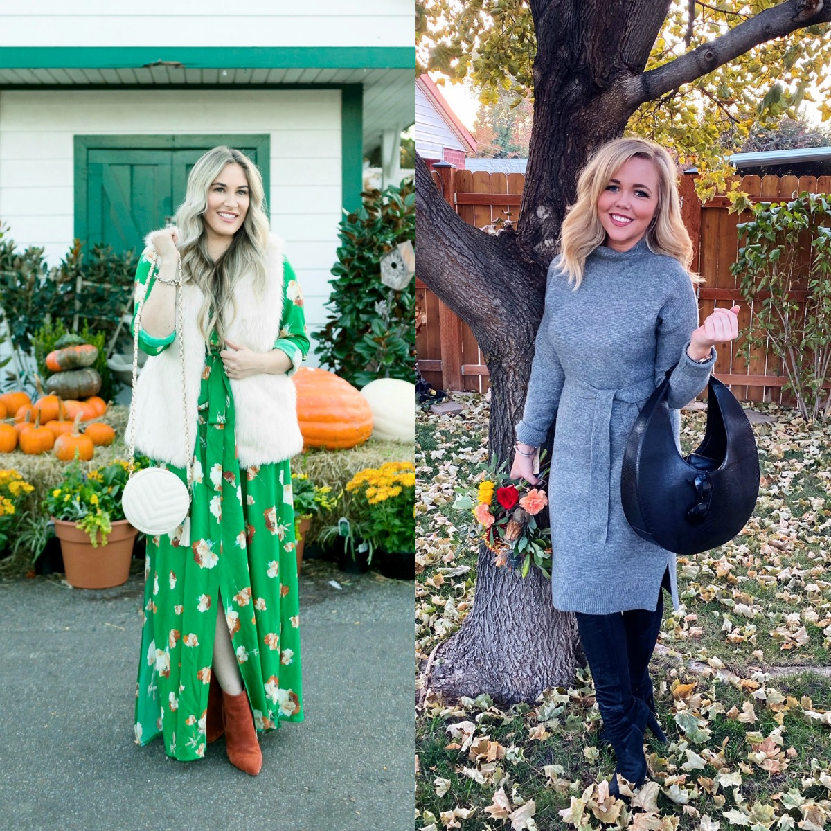 What to Wear for Thanksgiving, outfit featured by top US fashion blog, Walking in Memphis in High Heels: image of a woman wearing a Socialite utility maxi dress, La Fiorentina faux fur vest, ALDO ankle boots and a J.Crew faux leather round bag.